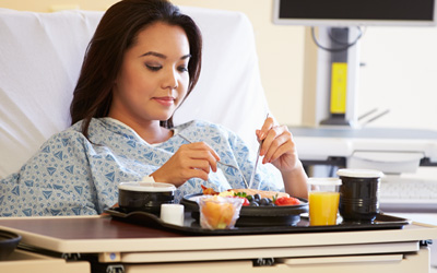 Patient with Meal Tray
