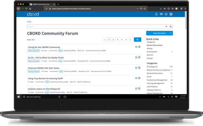 Community page on laptop