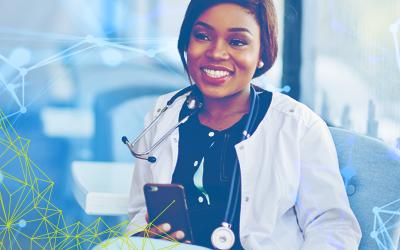 Happy healthcare employee satisfaction using mobile app